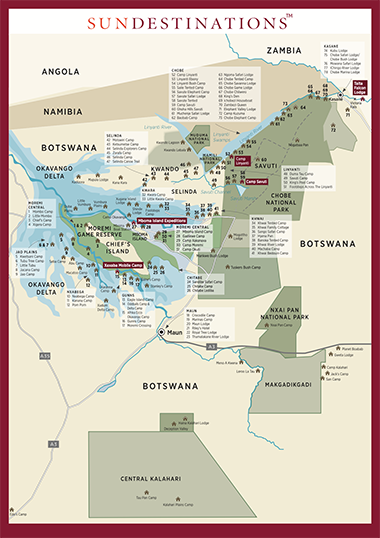 Map of Botswana Camps