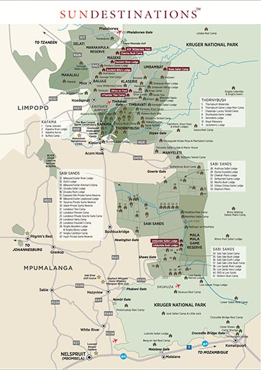 Map of Kruger Camps